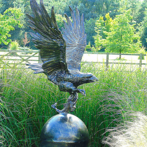 Large Eagle on Metal Ball Garden Sculpture
