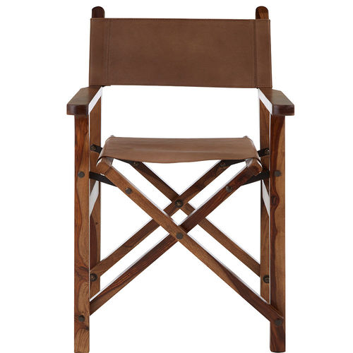 Directors Folding Chair Brown Buffalo Leather