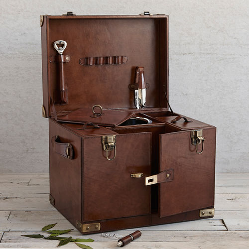 Luxury Leather Drinks Case With Ice Bucket