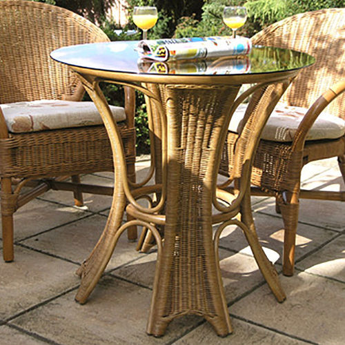 Bistro Round Table With Glass Top Warm Brown