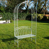 Metal Garden Arch & Bench Seat Olive Green
