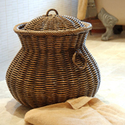 Large Wicker Laundry Basket in Chestnut