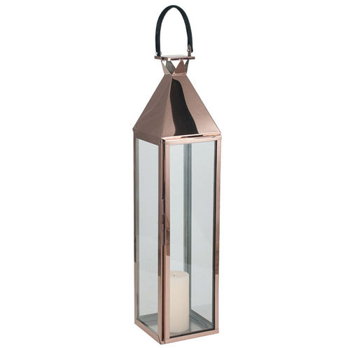 Large Copper S/Steel Hurricane Lantern