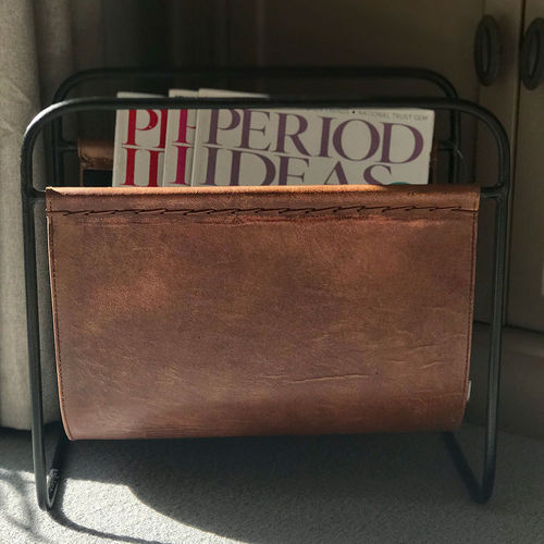 Light Brown Leather Magazine Holder