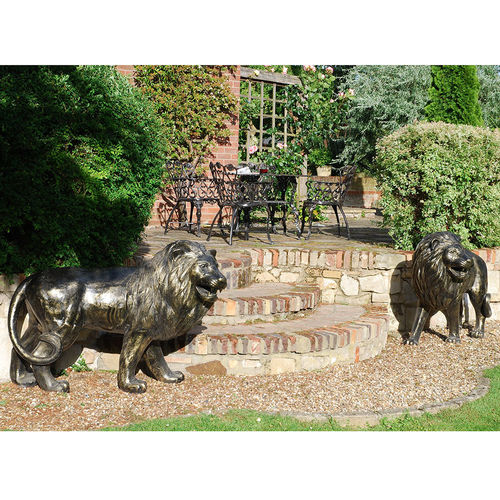 Large Pair bronze Metal Garden Lion Sculpture