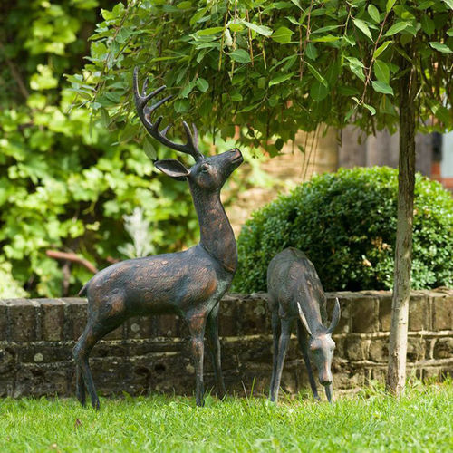 Large Garden Deer Sculptures Verdi Gris Finish