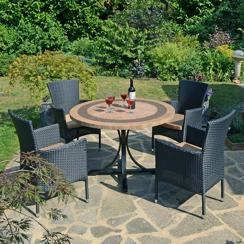 Outdoor Round Dining Set 4 Vermont