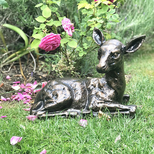 Metal Fawn Garden Sculpture