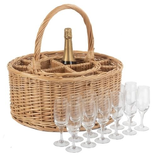 Picnic Willow Wine And Glass Carrier Basket