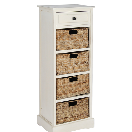 Cream Wooden Drawer and 4 Basket Tall Hall Storage Unit