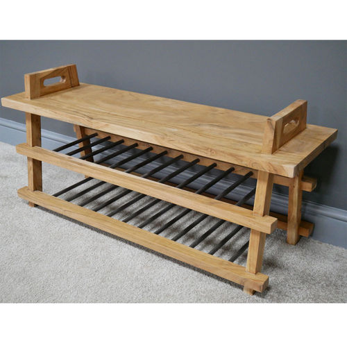 Hallway Shoe Bench Seat With Shelves