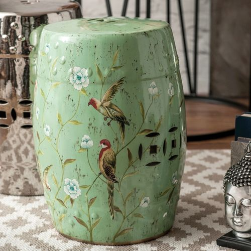 Green Turquoise Tropical Decorative Ceramic Stool