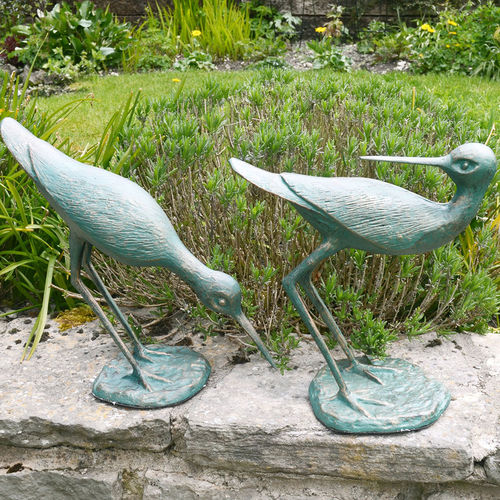 Pair of Metal Sandpiper Garden Sculptures