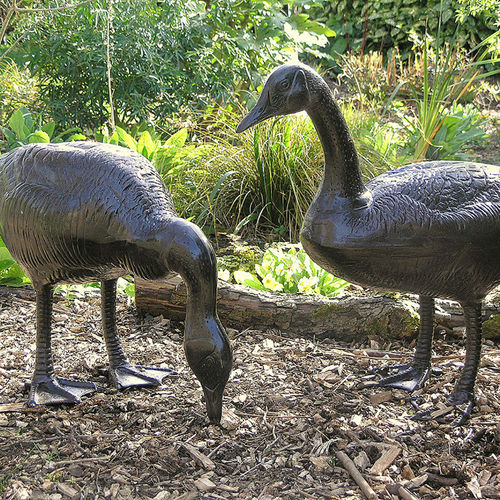 Pair of Metal Garden Geese Sculptures