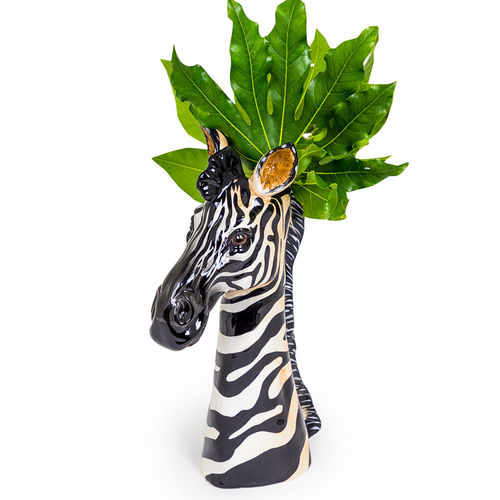 Tall Ceramic Zebra Head Print Vase