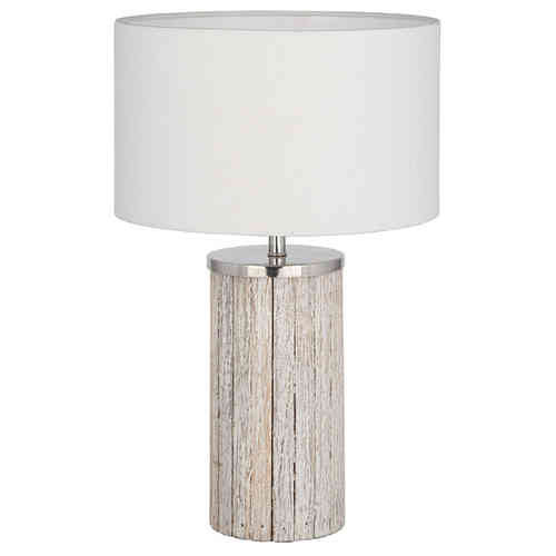 Sophia Grey Wash Wooden Column Table Lamp