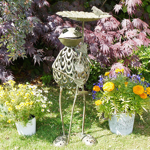 Freestanding Garden Frog Bird Feeder