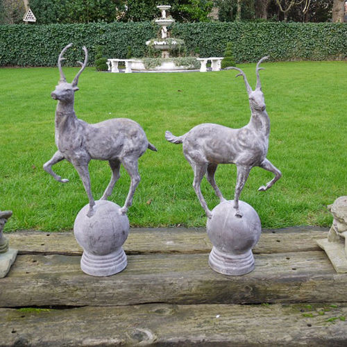 Large Garden Stag Finials Cast Iron