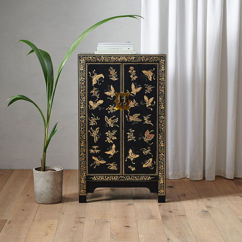 Medium Black Chinese Cabinet in Wood