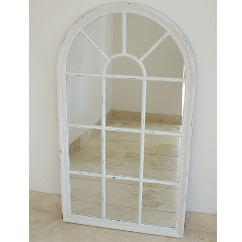 Shabby Chic White Arch Mirror