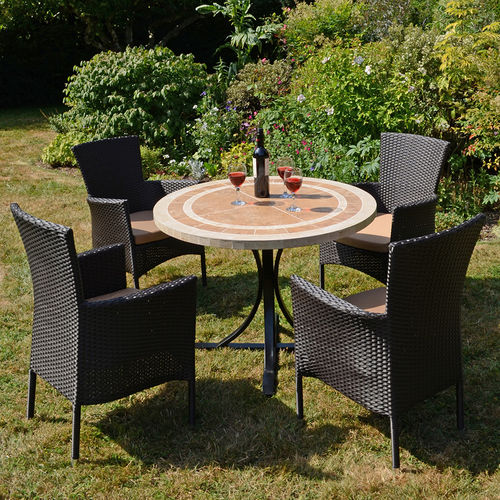 Langley Table 4 Black Chairs