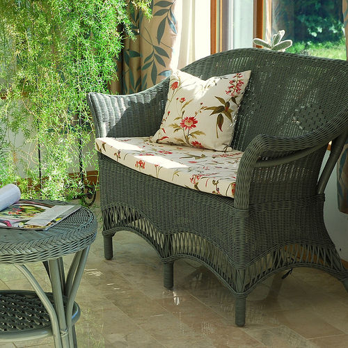 Small Sage Green Conservatory Cane Sofa