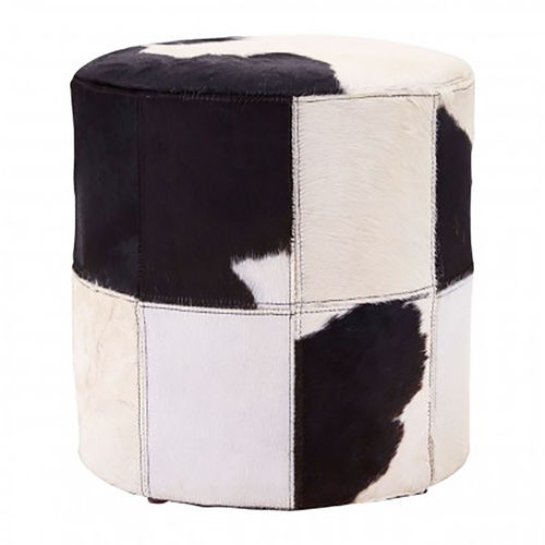 Natural Cowhide Footstool White Black