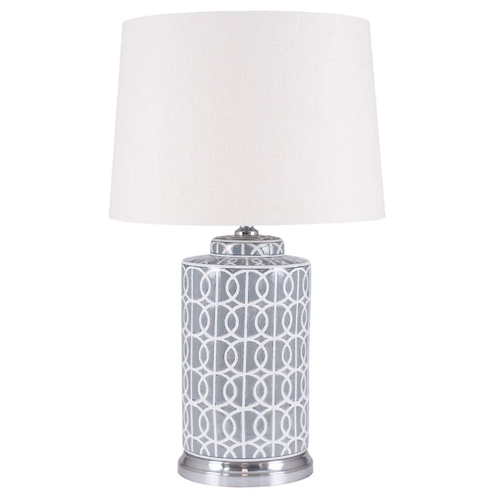 Stylish Tall Grey And White Ceramic Table Lamp And Shade