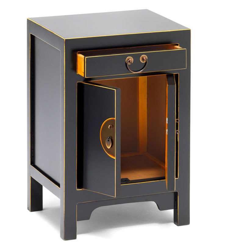 Black Oriental Style Storage Cabinet Bedside Table