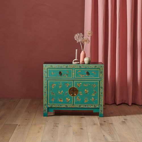 Oriental Style Decorated Sideboard Blue