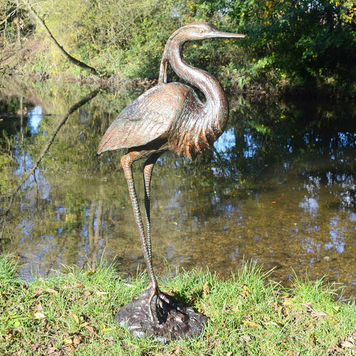 Metal Garden Heron Sculpture
