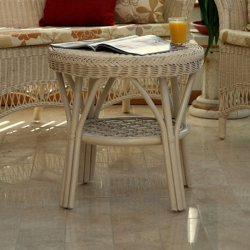 Small Round Cream Conservatory Coffee Table
