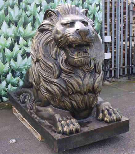 Large Metal Lion Garden Sculpture