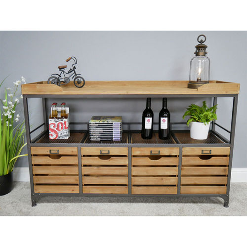 Large Fir Wood Metal Storage Table Cabinet