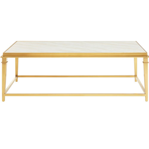 White Marble Topped Rectangular Coffee Table
