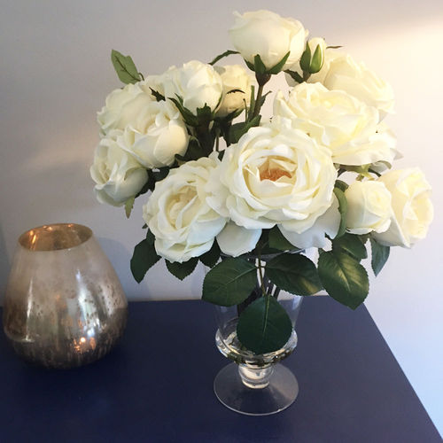 Artificial Flowers Cream Roses In Glass Vase