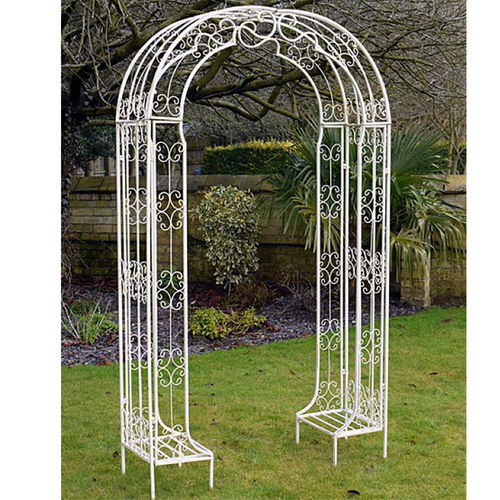 Decorative Cream/White Metal Garden Arch