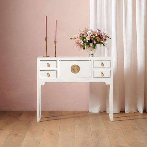 Oriental Style White Console Table 4 Drawers