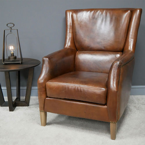 Comfy Brown Leather Reading Armchair