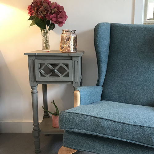 Small Mirrored Dove Grey Bedside Table
