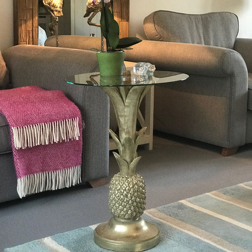 Gold Style Pineapple Glass Side Table