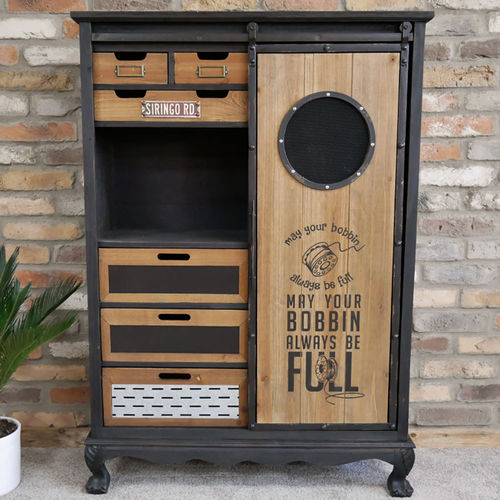 Vintage Industrial Style Sewing Cupboard