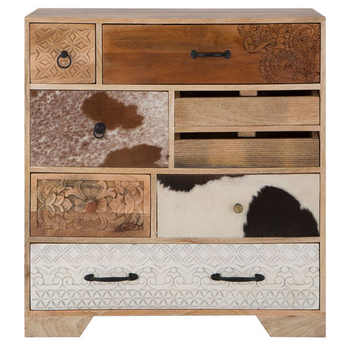 Leather And Mango Wood 7 Drawer Chest