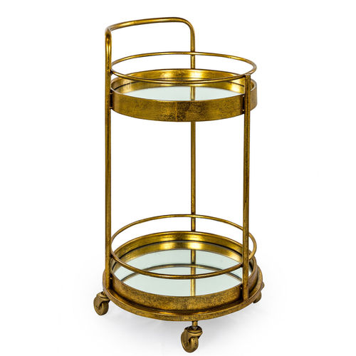 Small Round Bar Trolley Gold Bronze Finish