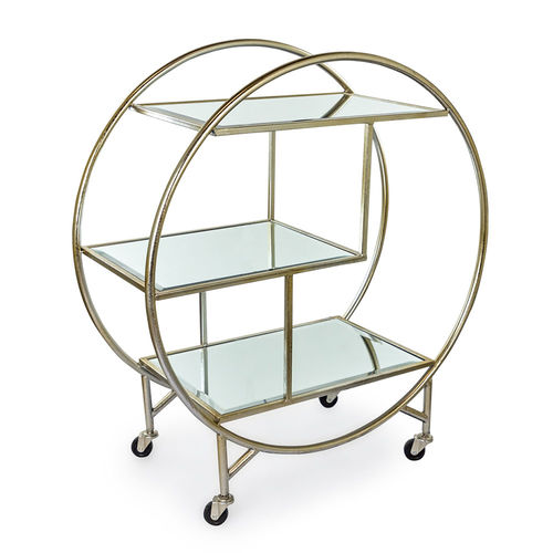 Mirrored Drinks Tea Trolley Silver Finish