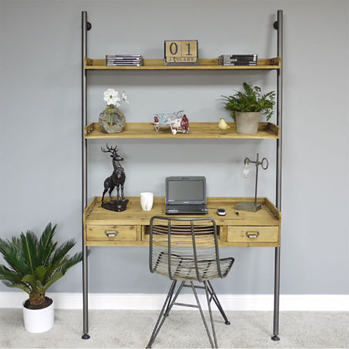 Rustic Vintage Style Wooden Desk With Shelves