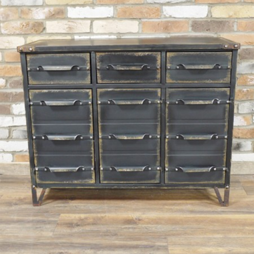 Industrial Style Metal Cabinet With Doors & Drawers