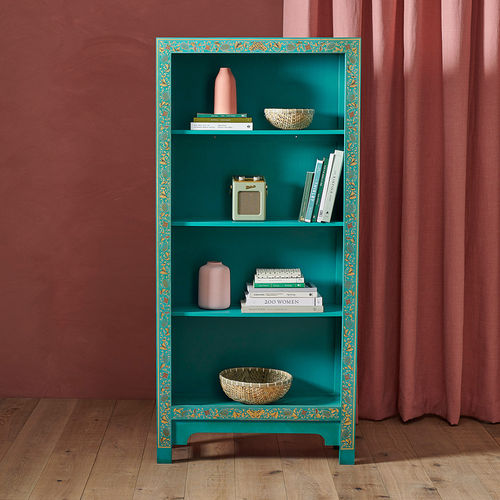 Chinese Style Blue Tall Wooden Bookcase