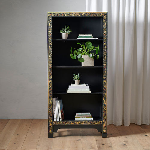 Chinese Style Black Tall Wooden Bookcase