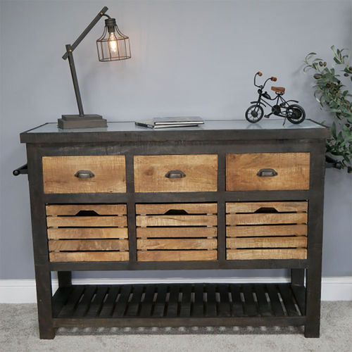 Rustic Vintage Style Mango Wood Storage Unit